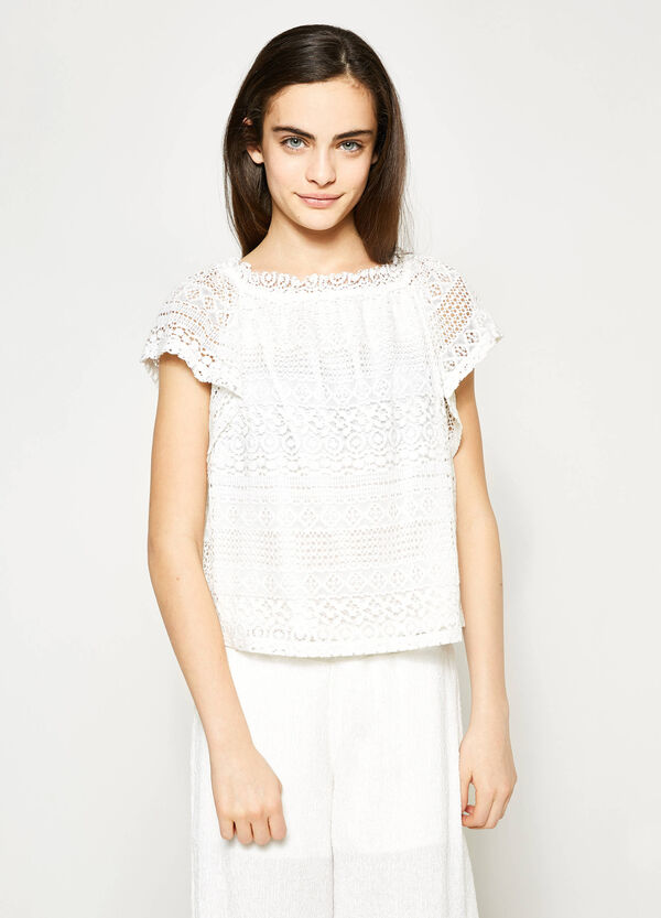 T-shirt in pizzo maniche ad aletta Teen | OVS