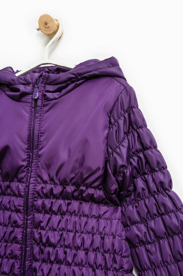 Down jacket with elasticated waist and sleeves, Purple, hi-res