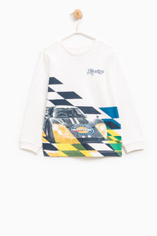 Printed T-shirt with long sleeves, Off-white, hi-res