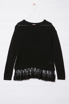 Viscose blend pullover with lace, Black, hi-res