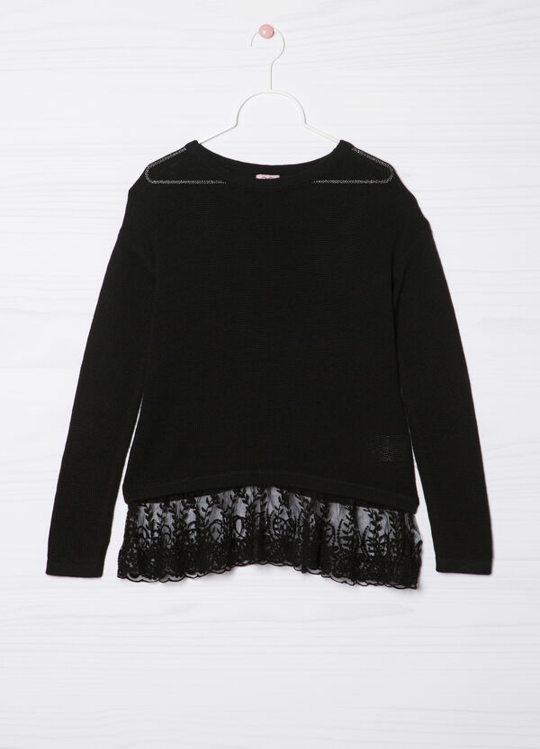 Viscose blend pullover with lace   OVS