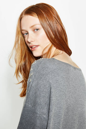 Curvy knit pullover with studs, Grey Marl, hi-res