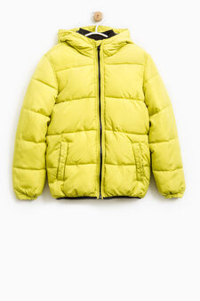 Solid colour down jacket with hood, Acid Yellow, hi-res