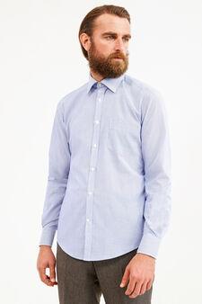 Slim-fit formal micro-striped shirt, Soft Blue, hi-res
