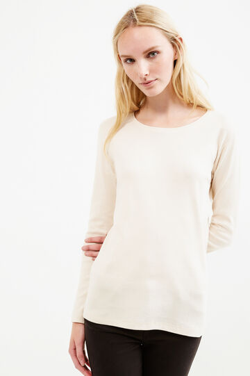 100% cotton T-shirt with long sleeves, Beige, hi-res