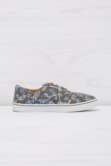 Sneakers with floral pattern, Grey, hi-res