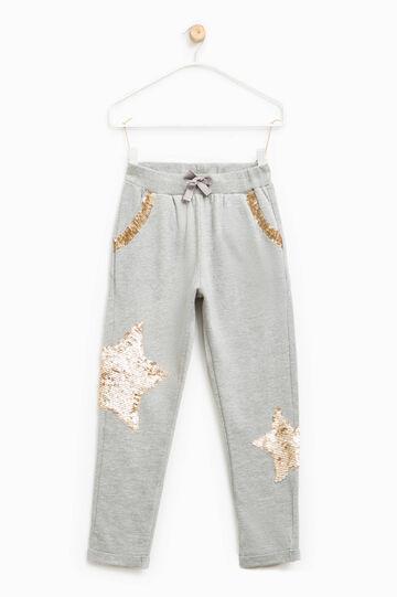 Pantaloni con coulisse e paillettes, Grigio chiaro, hi-res