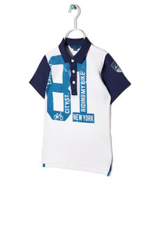 Two-tone polo shirt in 100% cotton, White/Blue, hi-res