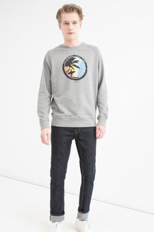 Printed sweatshirt in 100% cotton, Grey Marl, hi-res