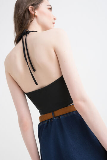 Solid colour stretch crop top., Black, hi-res