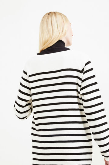 Striped pattern pullover in 100% cotton, Natural, hi-res