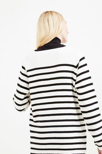 Pullover puro cotone fantasia a righe, Naturale, hi-res