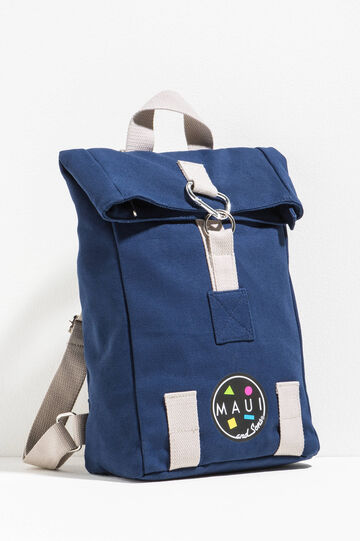 Backpack with contrasting inserts by Maui and Sons, Navy Blue, hi-res