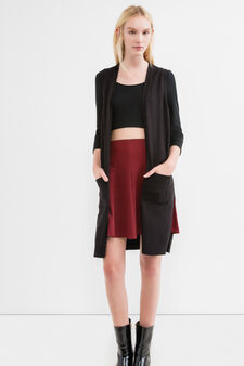 Full flared stretch skirt with high waist, Red, hi-res