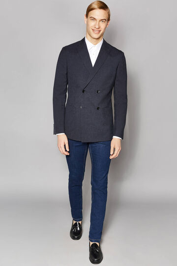 Elegant slim-fit double-breasted jacket, Black/Grey, hi-res
