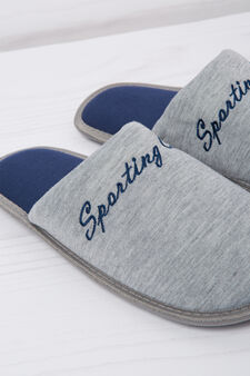 Slippers with embroidered lettering, Grey, hi-res