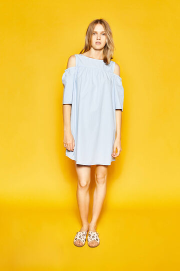 Cotton dress with bare shoulders