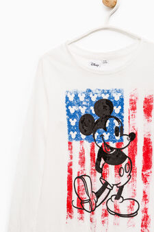Mickey Mouse print cotton T-shirt, White, hi-res