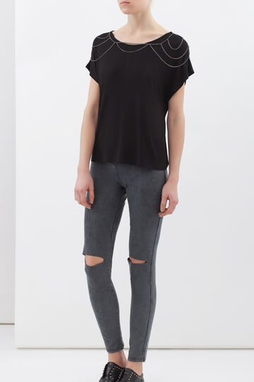 T-shirt viscosa stretch con catene, Nero, hi-res