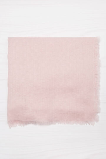 Scarf with fringed trim., Light Pink, hi-res