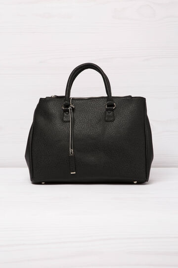 Leather look handbag, Black, hi-res