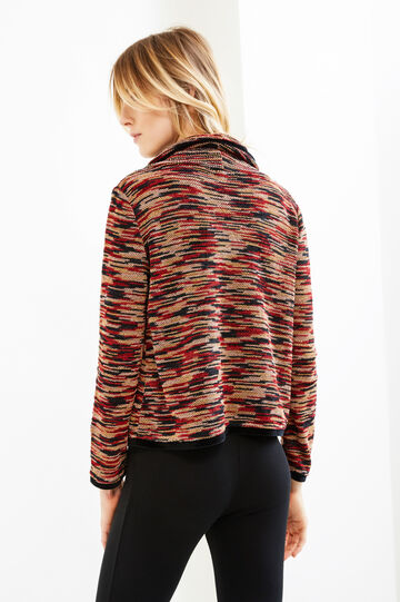 T-shirt with high neck and pattern, Black/Red, hi-res
