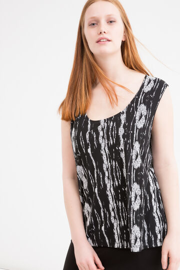 Curvy viscose sleeveless dress, Black/White, hi-res