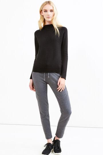 Pantaloni tuta misto cotone con coulisse, Nero/Grigio, hi-res