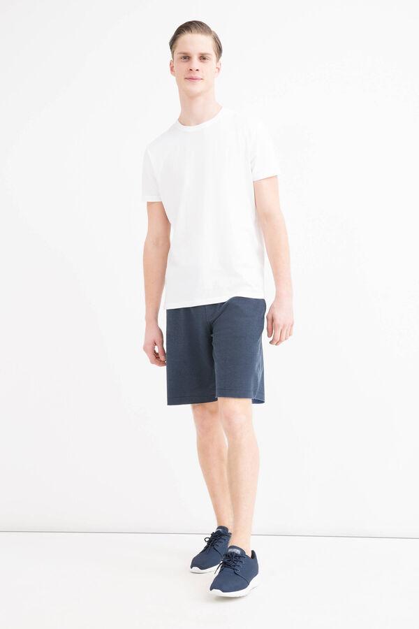 Solid colour cotton blend Bermuda shorts | OVS