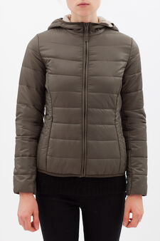 Ultra-light down jacket with hood, Green, hi-res