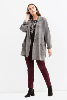 Curvy knitted patterned coat, Grey, hi-res
