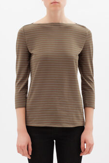 Stretch striped cotton T-shirt, Olive Green, hi-res