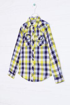 Camicia puro cotone a quadri, Multicolor, hi-res