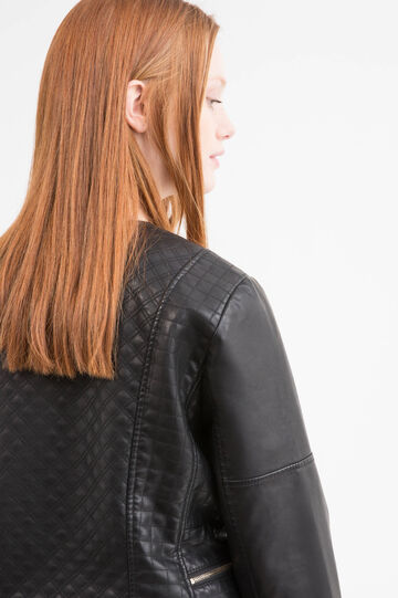 Quilted leather look Curvy jacket, Black, hi-res