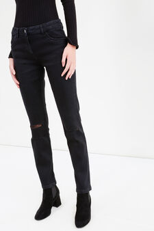 Jeans stretch con strappi e pizzo, Nero, hi-res