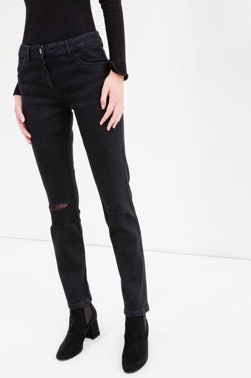 Jeans stretch con strappi e pizzo, Nero, hi-res