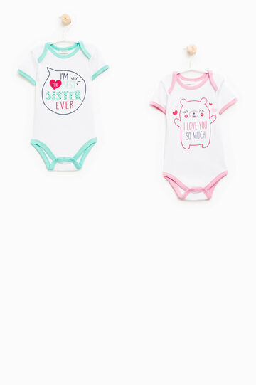 Two-pack bodysuits with lettering print, White/Green, hi-res