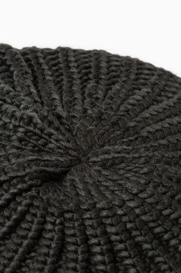 Knitted beanie cap, Black, hi-res