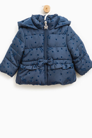 Patterned down jacket with hood, Blue, hi-res