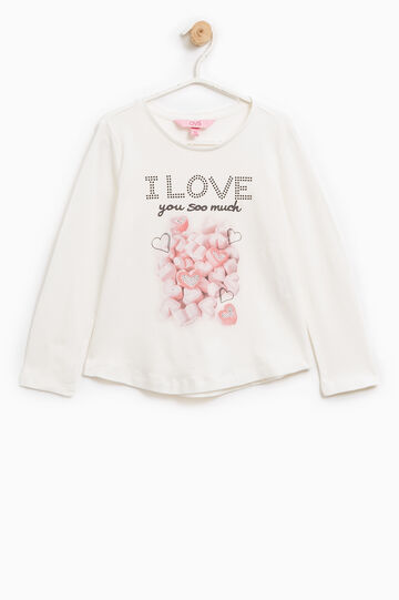 T-shirt with glitter print and diamantés, Milky White, hi-res