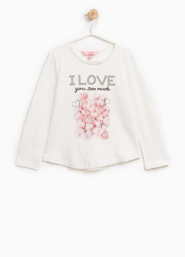 T-shirt stampa glitterata con strass | OVS