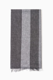 Striped scarf in 100% cotton, Grey, hi-res