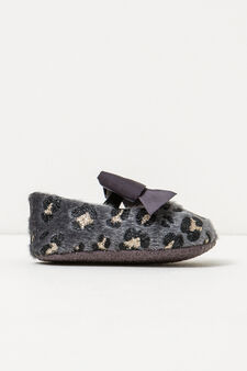 Fur lined animal print pattern ballerina flats, Grey, hi-res
