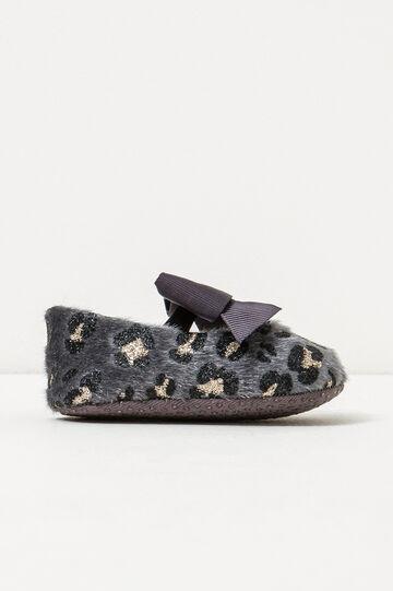 Fur lined animal print pattern ballerina flats, Grey, hi-res