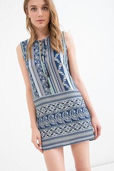 Stretch dress with teardrop collar, Light Blue, hi-res
