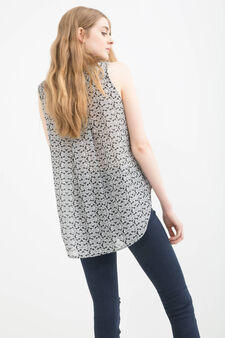 Sleeveless shirt with overlap, Black print 1, hi-res