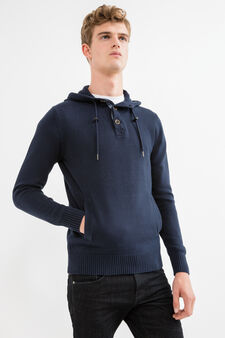 Cotton pullover with pouch pocket, Navy Blue, hi-res