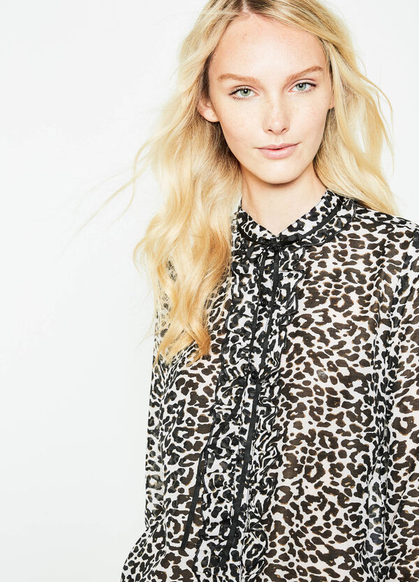 Shirt with print and flounces | OVS
