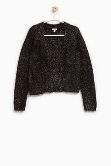 Solid colour cardigan with lurex, Black, hi-res