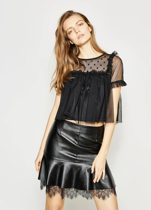 Tulle crop T-shirt with flounce | OVS